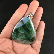 Pretty Blue and Green Druzy Stone Agate Pendant #21cPIsTaZKc