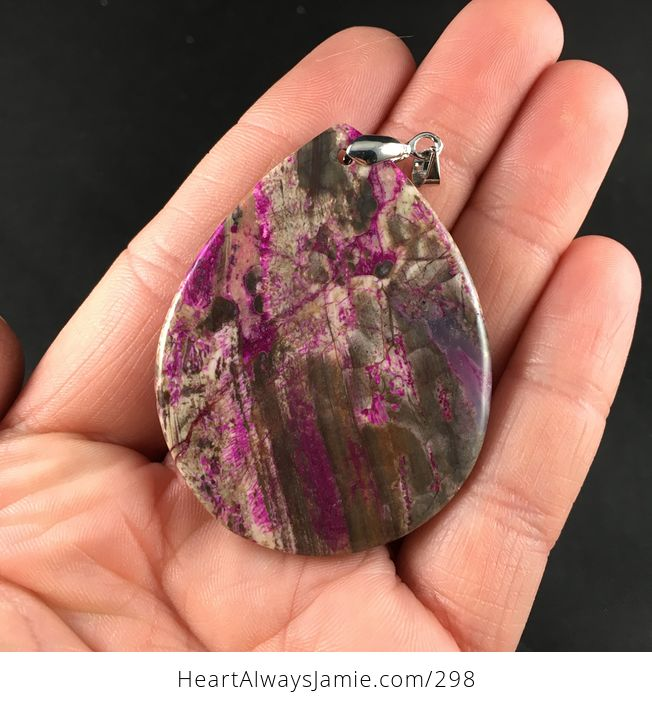 Pretty Brown and Purple Crazy Lace Stone Pendant Necklace - #WhFmDhoiY3I-3