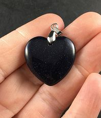 Pretty Dark Blue Heart Shaped Goldstone Pendant #xaWr5WjEGVs