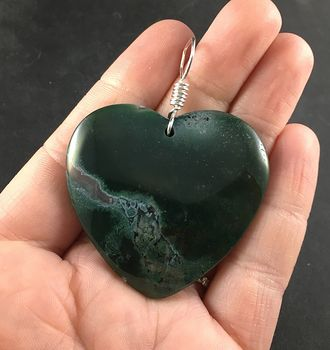 Pretty Green Heart Shaped Moss Agate Stone Pendant Necklace #Bo5xEnf17a0
