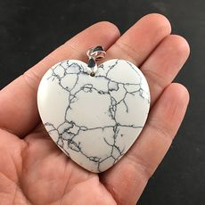 Pretty Heart Shaped White and Blue Turquoise Stone Pendant #yweENuJYfYk