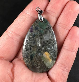 Pretty Matrix Pyrite with Yellow Green and Purple Fluorite Stone Pendant Necklace #3dRfqVhbDug