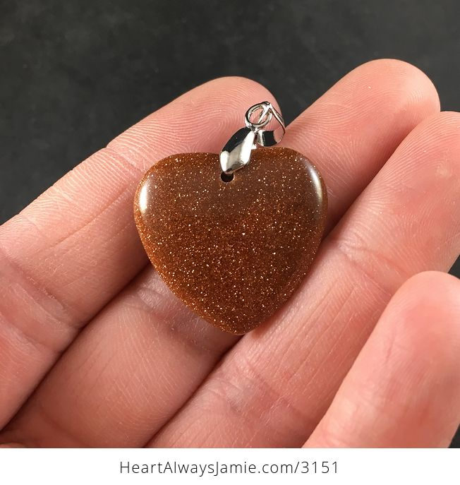 Pretty Orange and Gold Heart Shaped Goldstone Pendant - #OgIXyhVqJY0-1