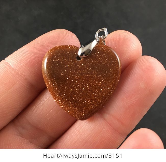 Pretty Orange and Gold Heart Shaped Goldstone Pendant Necklace - #OgIXyhVqJY0-2
