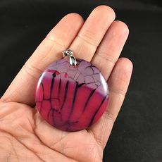 Pretty Round Black and Pink Dragon Veins Stone Agate Pendant #T1PfuSRcKLA