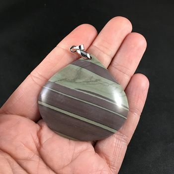 Pretty Striped Natural Jasper Stone Pendant #ALmxaj5tv6s