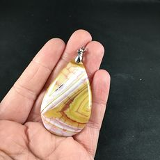 Pretty White Pink and Yellow Dragon Veins Stone Agate Pendant #nxw5GykJiOs