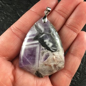 Purple and White Triangular Brazil Amethyst Stone Pendant Jewelry #3hI54CMaM84