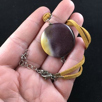 Purple and Yellow Mookaite Jasper Stone Jewelry Pendant Necklace #EXtpZqqnioE