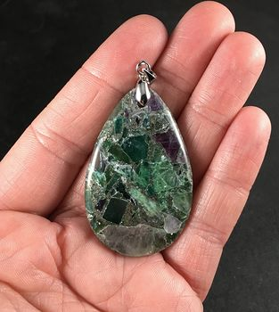 Pyrite and Chunks of Purple and Green Fluorite Stone Pendant #7p9Y51A3DIY