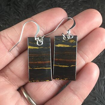 Rectangle Australian Tiger Eye Stone Jewelry Earrings #hzzoM6ARwmM
