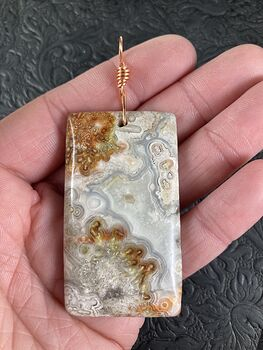 Rectangle Shaped Natural Crazy Lace Mexican Agate Stone Jewelry Pendant #E61kzDfku7w