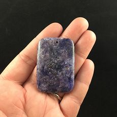Rectangle Shaped Purple Lepidolite Stone Jewelry Pendant #LqmqNCfPhR8