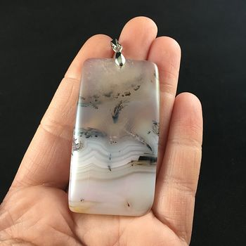 Rectangle Shaped Scenic Agate Stone Jewelry Pendant #UYp5J892L6o