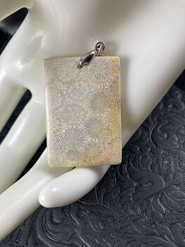 Rectangular Beige and Orange Coral Fossil Stone Jewelry Pendant #3PzTZaLNqP4