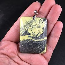 Rectangular Black and Yellow Natural African Turquoise Stone Pendant #PBw6gfW6a38
