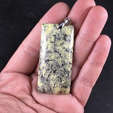 Rectangular Black and Yellow Natural African Turquoise Stone Pendant #iJiVX1tKEU4