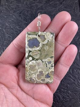 Rectangular Natural Green Jasper Stone Pendant Jewelry #MBARVNfbpNw