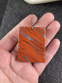 Rectangular Natural Rainbow Jasper and Druzy Stone Pendant Jewelry #oNaPMyq3E14