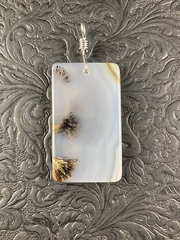 Rectangular Natural Scenic Dendritic Agate Stone Pendant Jewelry #cRWWh5x8Yt8