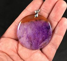 Round Brown and Purple Druzy Agate Stone Pendant #1XOmiPHvsa0