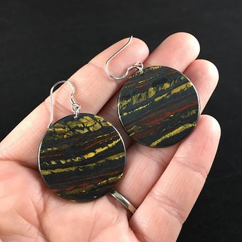 Round Golden Red and Black Australian Tiger Eye Stone Jewelry Earrings #IuZ8iXPKPBg