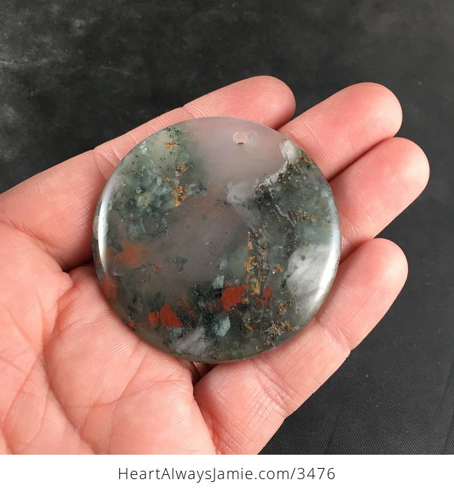 Round Natural African Bloodstone Pendant Jewelry - #tocWO6oET5Q-1