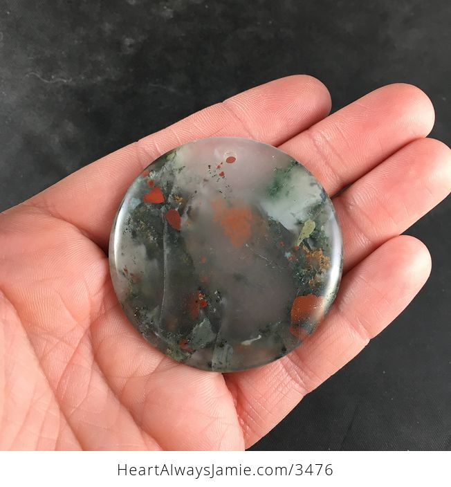 Round Natural African Bloodstone Pendant Necklace Jewelry - #tocWO6oET5Q-6