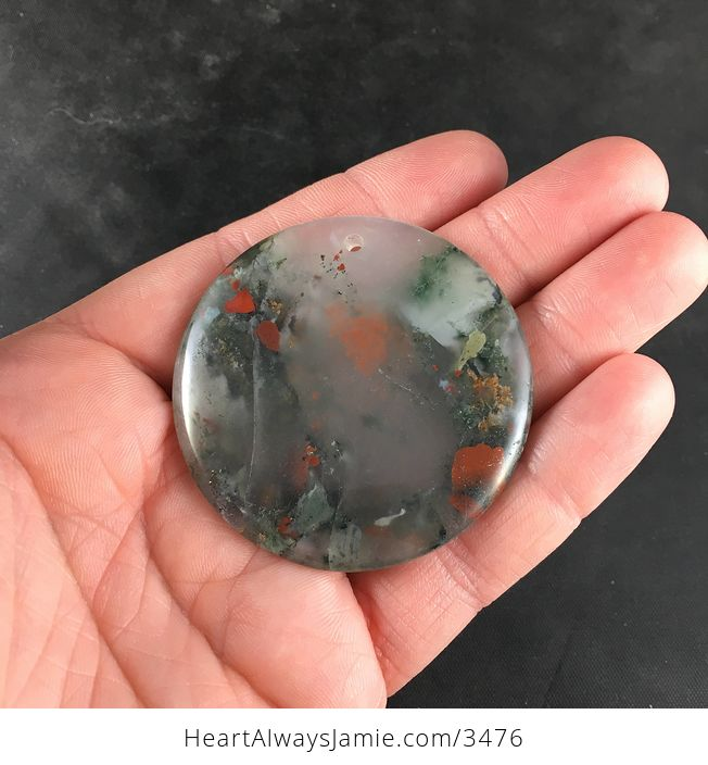 Round Natural African Bloodstone Pendant Necklace Jewelry - #tocWO6oET5Q-7