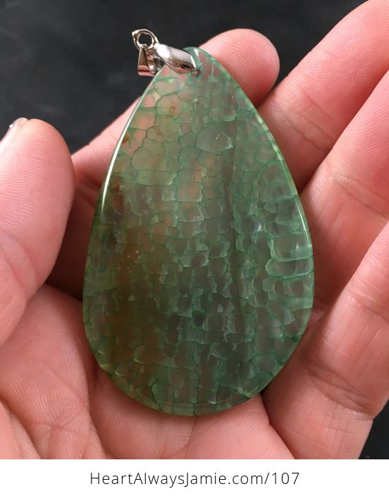Semi Transparent Green Dragon Veins Stone Agate Pendant Necklace - #i1HcpTnSyAM-2