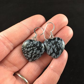 Snowflake Obsidian Stone Jewelry Earrings #axLqrhhtkUE