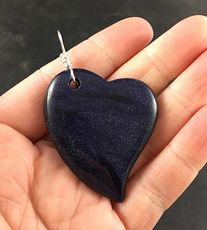 Sparkly Dark Blue Heart Shaped Goldstone Stone Pendant #6gEW3wSRYbY