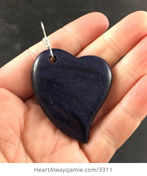 Sparkly Dark Blue Heart Shaped Goldstone Stone Pendant - #6gEW3wSRYbY-1