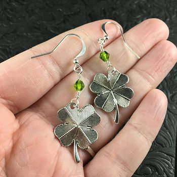 St Patricks Day Lucky Four Leaf Clover Shamrock and Green Bicone Bead Earrings #Bb3EHb8zPPY