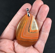 Striped Orange Druzy Agate Stone Pendant #1eRrOXGS1JE