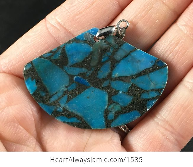 Stunning Blue and Black Pyrite Fan Shaped Stone Pendant Necklace - #LujRCMQWndw-2
