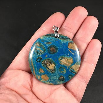 Stunning Blue and Tan 34islands and Ocean34 Malachite Stone Pendant Necklace #RbcUg6Di1Vw