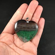 Stunning Brown and Green Heart Shaped Druzy Stone Agate Pendant #QgXjssBx6vs