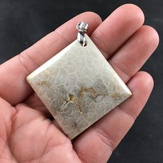 Stunning Diamond Shaped Beige Coral Fossil Pendant #Dc7Drv21nFw