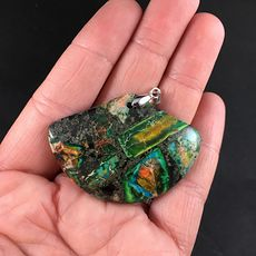 Stunning Fan Shaped Chalcopyrite and Colorful Sea Sediment Jasper Stone Pendant #EPorX5ORERI