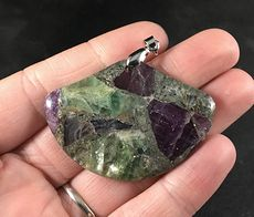 Stunning Fan Shaped Chalcopyrite and Green and Purple Fluorite Stone Pendant #8LbaltxhW00