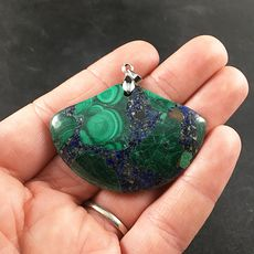 Stunning Fan Shaped Green Malachite and Blue Lapis Lazuli Stone Pendant #ynJhM8kPa4s