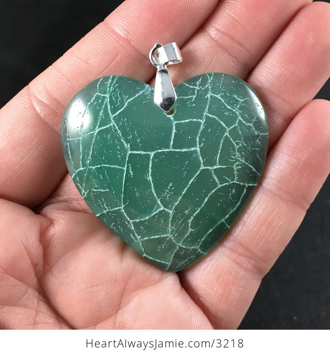 Stunning Green and White Heart Shaped Dragon Veins Agate Stone Pendant - #OmYrkNSO5UE-1