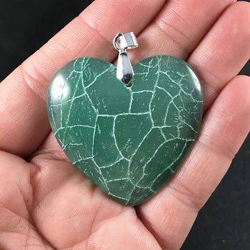 Stunning Green and White Heart Shaped Dragon Veins Agate Stone Pendant Necklace #OmYrkNSO5UE