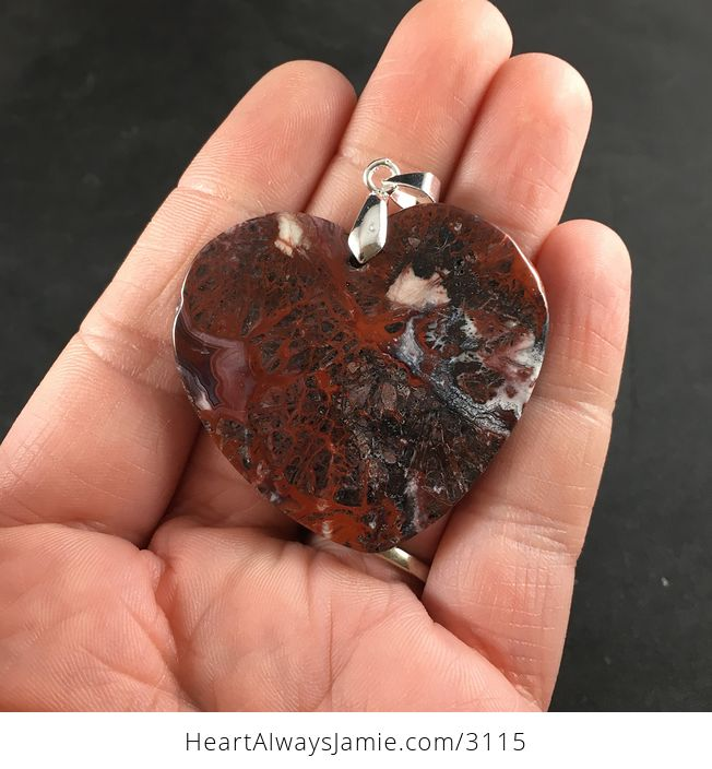 Stunning Heart Shaped Blood Red Crazy Lace Agate Stone Pendant Necklace - #7Mu8ZVAIyUY-2