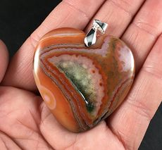 Stunning Heart Shaped Orange and Green Druzy Agate Stone Pendant #MNQKFGZ9jxw