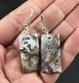 Stunning Mexican Crazy Lace Agate Stone Earrings with Hypo Allergenic 925 Sterling Silver Hooks #BwjDaDSaYs4