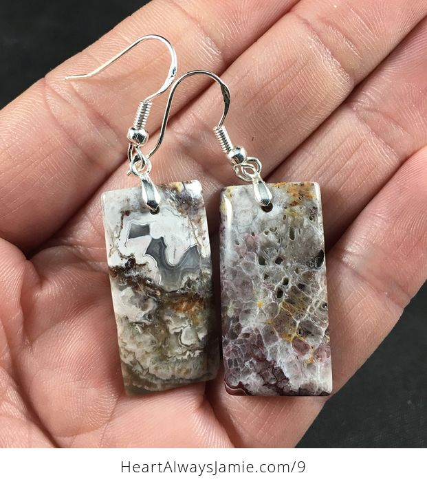 Stunning Mexican Crazy Lace Agate Stone Earrings with Hypo Allergenic 925 Sterling Silver Hooks - #BwjDaDSaYs4-1