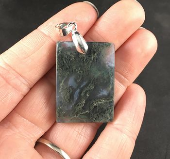Stunning Rectangle Shaped Moss Agate Stone Pendant Necklace #1pXaN4U4nZc