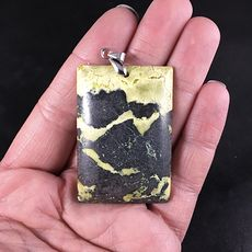 Stunning Rectangular Yellow and Black Natural African Turquoise Stone Pendant #cz4YSo4P9M0